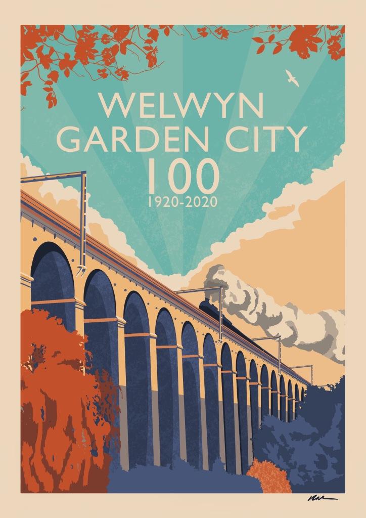 Welwyn Garden City 100 Travel Poster